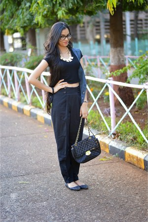 black high waisted asos pants - navy Marc by Marc Jacobs vest