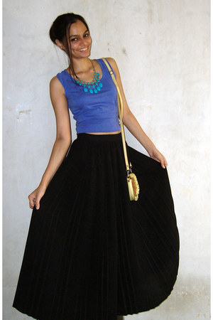 black maxi skirt handmade skirt - violet crop top Splash top