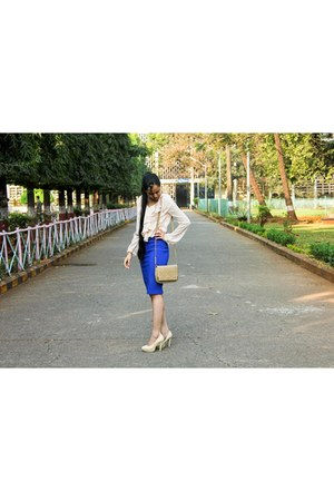 blue pencil skirt Forever 21 skirt