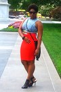 Cotton-unknown-skirt-leather-guess-pumps-denim-unknown-top