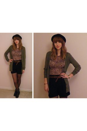 green Primark cardigan - black Zara shorts - black H&M hat