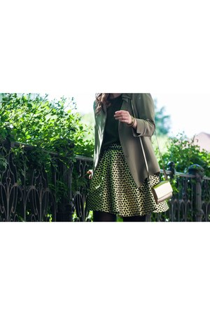 reserved top - olive thrifted vintage shirt - H&M bag - gold Mohito skirt