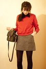 Sweatshirt-thrifted-sweater-velvet-collar-thrifted-accessories-jcrew-skirt