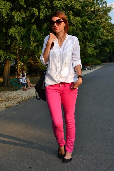 ivory veromoda shirt - hot pink Bershka pants