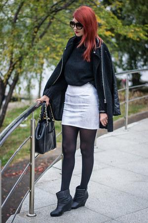 romwe coat - kurtmann boots - zeroUV sunglasses - bad style skirt