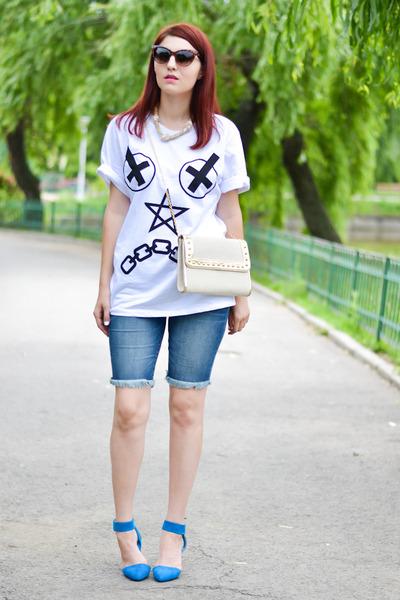 romwe t-shirt - Blank Denim jeans - meli melo bag - VJ Style sandals