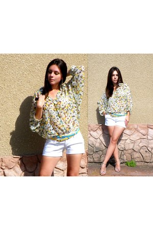 floral vintage blouse - denim shorts Gap shorts - gold Prada heels