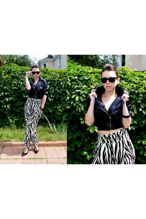 black patent leather vintage jacket - zebra vintage pants