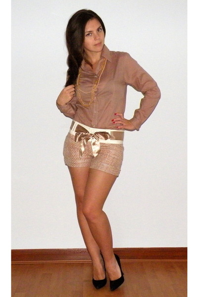 light pink My Own shorts - tan My Own blouse