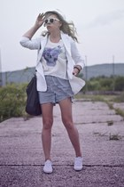 black Sinsay bag - off white Secondhand jacket - black second hand shorts