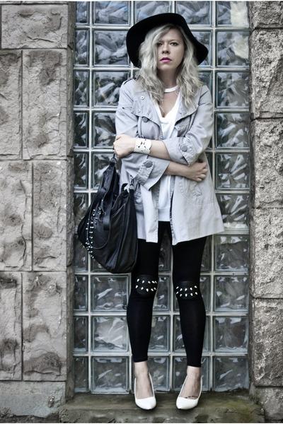 black new look hat - silver Orsay coat - black Choies leggings
