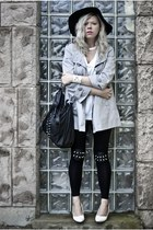 black new look hat - silver Orsay coat - black Choies leggings