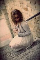white Zara dress - periwinkle Stradivarius jacket - tan new look heels