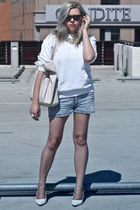 ivory Bershka bag - light blue SH shorts - off white SH blouse