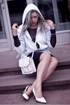 black Secondhand dress - off white oodji bag - off white Secondhand blouse