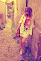 light orange Bershka dress - light blue sh  DIY shirt
