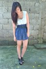 Light-blue-thrifted-top-navy-forever21-skirt-black-people-are-people-clogs