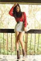 light brown Primadonna heels - red Mango sweater - white Nine West bag