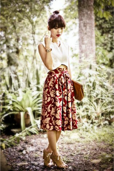 brick red moms skirt - mustard MNJ Korea shoes - off white DIY top