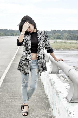 dark gray Zara blazer - periwinkle ripped Tribal jeans - black Parisian wedges
