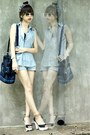 Sky-blue-denim-levis-shorts-black-velvet-bag-tawny-mags-sandals
