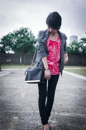 jacket - Zara bag - flats - top