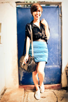 turquoise blue bandage skirt - black Saint Jack bag - black oversized top