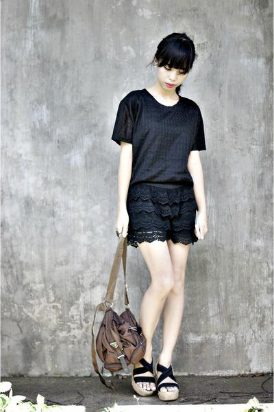 dark brown vintage Prada bag - black lace shorts - black lace thrifted top