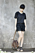 dark brown vintage Prada bag - black lace shorts - black lace thrifted top