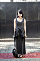 black leather jacket - gray maxi dress - black bag