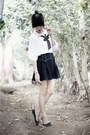 Navy-vintage-moms-skirt-white-sheer-top-black-leather-zanea-flats
