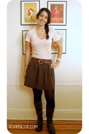 Forever 21 skirt - Forever 21 t-shirt - Old Navy boots - H&M belt