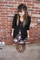 black Dillards blazer - pink Forever 21 dress - gray Gap tights - brown