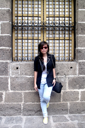 black DIY blazer - yellow Keds shoes - white Zara shirt