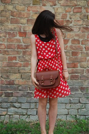 brown H&M bag - red dotted vintage dress - brown Bershka flats