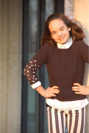 black heart H&M shirt - black Mango sweater - white H&M blouse