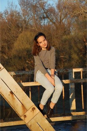 black platform shoes - light blue denim H&M jeans