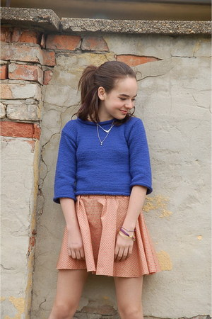 blue jumper - peach made by me skirt