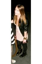 Wilson Leather jacket - herve leger dress - American Apparel leggings - vintagw
