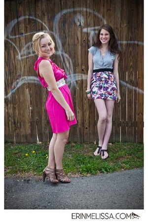 pink Miss Me dress - brown Nine West shoes