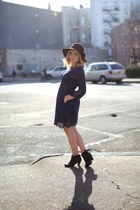 navy cut out dress Dolce Vita dress - black booties Gap boots