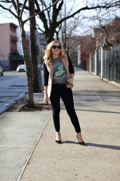 camel blazer JCrew blazer - navy J Brand jeans - silver Urban Outfitters t-shirt