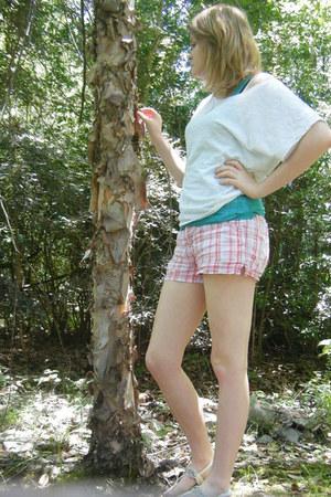 white Dehlias shirt - teal Dehlias shirt - pink plaid shorts - white sandals