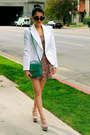 White-cotton-forever-21-blazer-salmon-cotton-h-m-dress