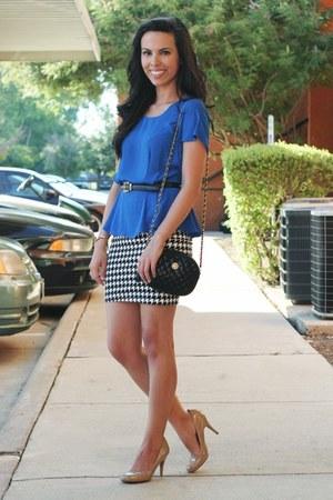 blue Sugarlips top - black vintage bag - houndstooth Forever 21 skirt