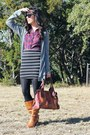 Ruby-red-plaid-agaci-top-bronze-dsw-boots-brown-fossil-bag