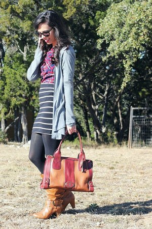 ruby red plaid Agaci top - bronze DSW boots - brown Fossil bag
