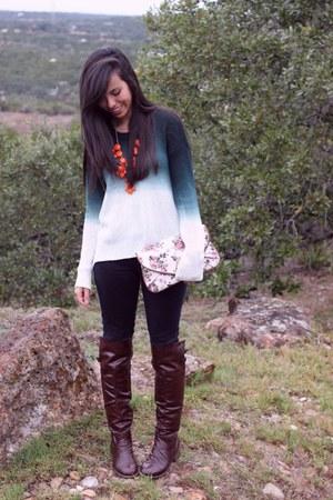 forest green Agaci sweater - dark brown GoJane boots - Target bag
