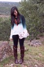 Dark-brown-gojane-boots-forest-green-agaci-sweater-target-bag