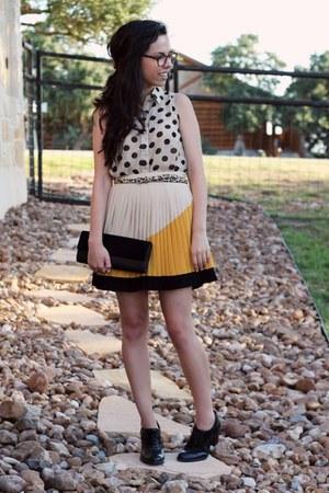 brown firmoo glasses - black Target shoes - mustard Sugarlips skirt